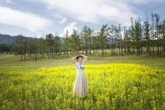 Het meisje is in het midden van bloemgebieden Royalty-vrije Stock Foto