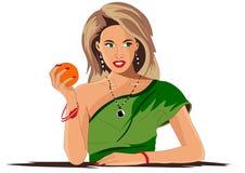 Het meisje houdt een sinaasappel in haar hand vector illustratie