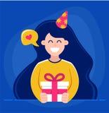 Het meisje houdt in haar handen een gift en wenst gelukkige verjaardag karakter Vectorillustratie stock illustratie