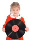 Het meisje houdt Vinylverslag op wit Stock Afbeeldingen