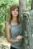 Het meisje in hout Royalty-vrije Stock Foto