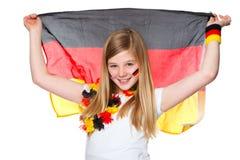 Het meisje juicht voor het Duitse voetbalteam toe Stock Afbeelding