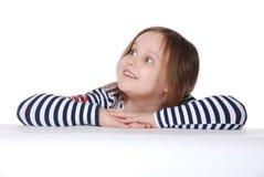 Het meisje kijkt met verrassing Stock Fotografie