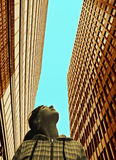 Het meisje kijkt upwards Stock Afbeelding