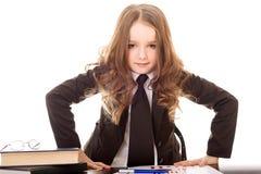 Het meisje kleedde zich als bedrijfsvrouw Stock Afbeelding
