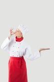 Het meisje kleedde zich als chef-kok Stock Foto's