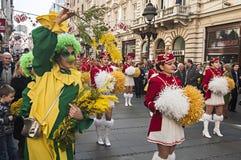 Het meisje kleedde zich als clown met een een bloemmimosa en Majorettes Stock Fotografie