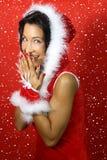 Het meisje kleedde zich als Kerstman smilesd Stock Afbeeldingen
