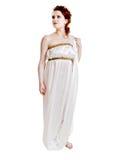Het meisje kleedde zich in Grieks kostuum op wit Stock Afbeelding