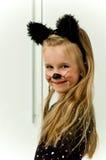 Het meisje kleedde zich omhoog als kat Royalty-vrije Stock Fotografie