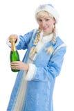Het meisje kleedde zich in Russisch Kerstmiskostuum Stock Afbeelding
