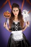 Het meisje kleedde zich voor Halloween Stock Foto