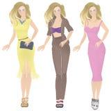 Het meisje in kleren drie opties Stock Foto's