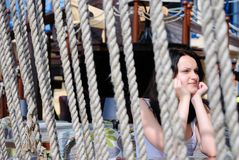 Het meisje in koffie Royalty-vrije Stock Afbeelding