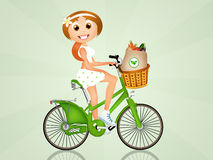 Het meisje koopt groenten royalty-vrije illustratie