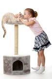 Het meisje kust haar kat. Royalty-vrije Stock Afbeeldingen