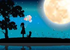Het meisje let op het maanlicht, Vectorillustraties Stock Afbeelding