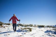 Het meisje loopt door de sneeuw in de bergen Stock Foto
