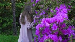 Het meisje loopt over een groot bloembed van heldere bloemen en bekijkt de camera stock videobeelden