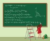 Het meisje lost de vergelijking op Stock Foto