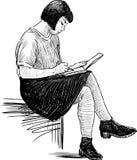 Het meisje maakt schetsen royalty-vrije illustratie