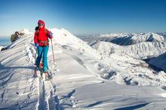 Het meisje maakt skialpinisme naar de bergpas in een aardig spoor met robbevel alleen stock foto's