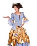 Het meisje marquise binnen kostuum en hoed. stock afbeeldingen