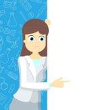 Het meisje in medische kleding richt aan een lege banner op een blauwe achtergrond met pictogrammen op een themageneeskunde royalty-vrije illustratie
