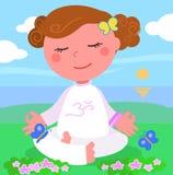 Het meisje in meditaion stelt vector stock illustratie