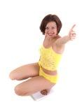 Het meisje meet het gewicht Royalty-vrije Stock Foto
