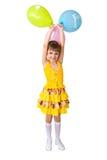 Het meisje met ballons   Stock Foto's