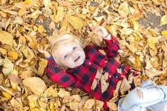 Het meisje met blauwe ogen ligt op de gevallen bladeren en pla royalty-vrije stock afbeelding