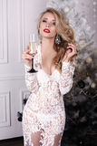 Het meisje met blond haar draagt luxueuze kleding, houdend glas champagne stock afbeelding