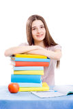 Het meisje met boeken Stock Foto