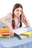 Het meisje met boeken Stock Fotografie