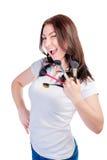 Het meisje met borstels voor samenstelling knipoogt Stock Afbeeldingen