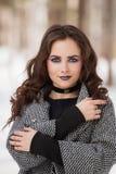 Het meisje met de make-up in de winterportret Royalty-vrije Stock Afbeeldingen