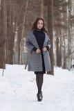 Het meisje met de make-up in de winterportret Stock Afbeelding