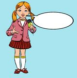 Het meisje met de microfoon Toekomstig beroep toekomstige journalist vector illustratie