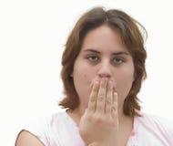 Het meisje met dient mond in royalty-vrije stock foto's