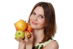 Het meisje met een appel Royalty-vrije Stock Foto's