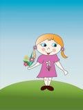 Het meisje met een boeket Stock Afbeeldingen