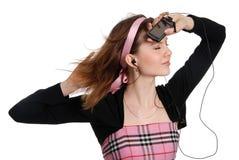 Het meisje met een cellulaire telefoon Stock Foto