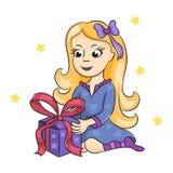 Het meisje met een gift Stock Afbeelding