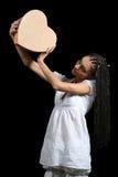 Het meisje met een hart Stock Foto