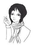 Het meisje met een sigaret op een witte achtergrond Stock Afbeelding