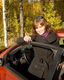 Het meisje met een sleutel Stock Foto