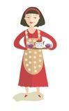 Het meisje met een theepot en kop theeën Stock Fotografie