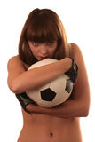 Het meisje met een voetbal Stock Afbeelding