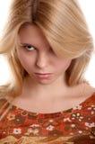Het meisje met frown kijkt Stock Foto's